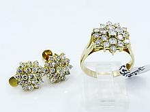 SOLID 18K Yellow Gold & Approx. 3.8CTW Genuine Diamond Earrings & Ring Set *Nice*