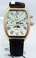 Men's Stauer Day/Date/Month Moon Phase Watch W/14K Rose Gold Finish *New W/Tags*