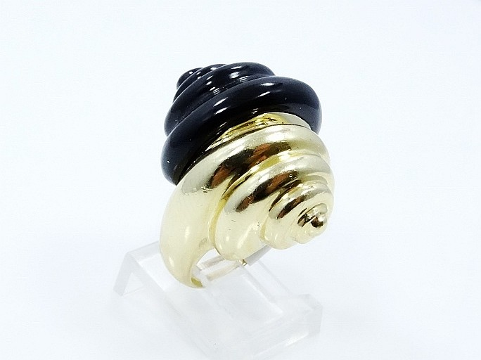 SOLID 14K Yellow Gold & Thick Enamel Finish