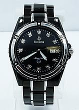 Men's Bulova Marine Star Watch W/Genuine Diamond Markers *WORKING*