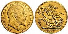 Edward VII, 1901-1910  Pound, 1909C, Ottawa, AU 7.99g.
