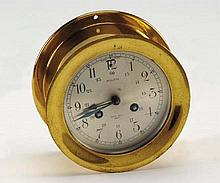 Early 20th c. ship's bell brass clock