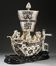 19th c. Japanese carved ivory ship