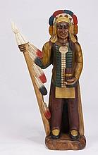 Hand carved and decorated cigar store Indian