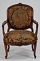 19th c. carved walnut chair w/needlepoint