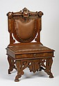 19th c. carved walnut chair in leather