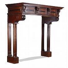 Monumental 19th c. English oak mantel