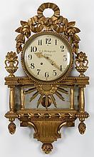 Swedish giltwood cartel clock, 19th century