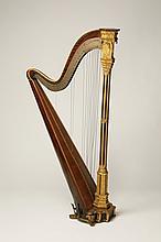 19th c. parcel gilt rosewood Erard harp
