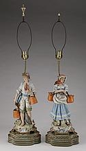 (2) Old Paris style figural lamps
