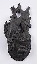 Black Forest carved wall plaque