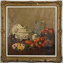 F. Holton signed oil on canvas still life