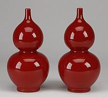 (2) 19th c. Chinese gourd porcelain vases