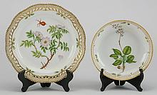 (2) Flora Danica plates, early 20th c, marked