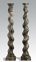(2) Italian carved marble columns