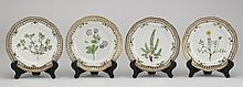 (4) Flora Danica plates, 19th c., marked