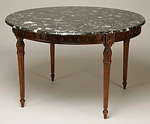 Carved walnut marble top table