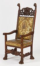 French carved armchair in embossed leather