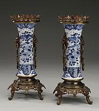 (2) Delft style porcelain vases