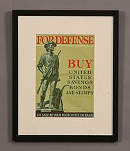 Framed vintage WW II poster