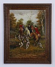 Late 20th c. oil on canvas hunt scene