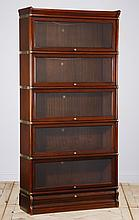 Five tier mahogany lawyer's bookcase
