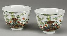 (2) 19th c. Chinese porcelain wine cups