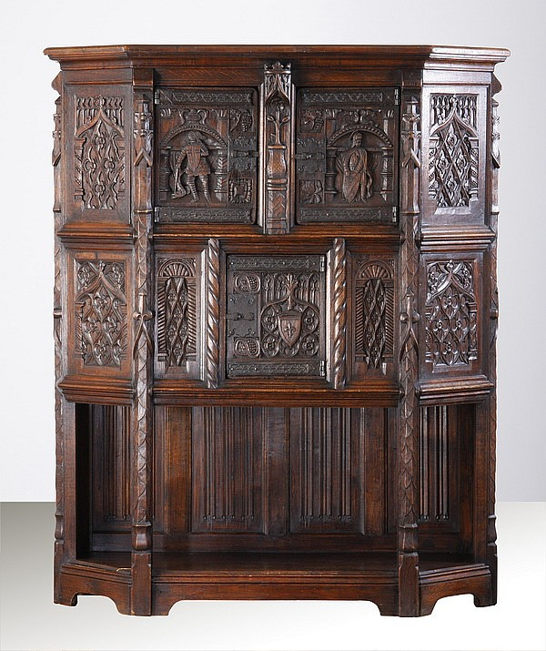 18th c. French Gothic Revival oak cabinet