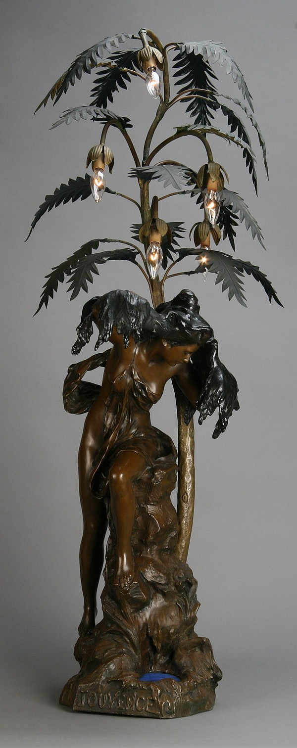 Early 20th c. figural newell post lamp