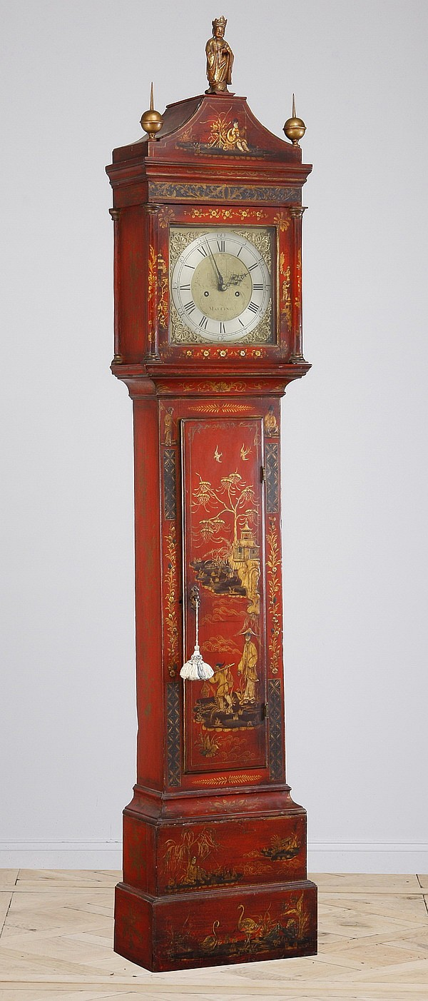 18th c. English Chinoiserie tall case clock