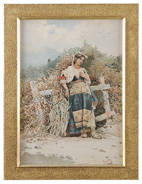 19th c. Italian watercolor, signed Mariotti