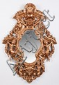 Oversized carved gilt wood mirror, 62
