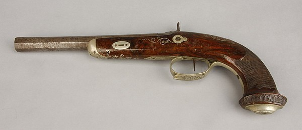 19th c. percussion pistol w/ silver inlays