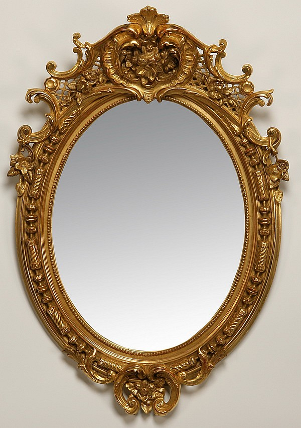 19th c. English gilt wood mirror, 49