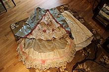 A Victorian day dress skirt of around 1870 with pink velvet roses chantilly lace detail and associated underskirt let out for pregnancy vg condition.