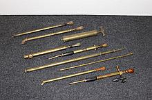 A collection of brass garden sprayers (8) mainly Victorian and Edwardian including The Eureka Daisy Killer.