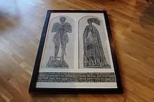 Substantial gothic rectangular oak frame featuring brass rubbing of a knight and lady in arched diptych with inscription below.