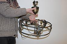Brass art nouveau three bulb dinning table chandalier with triple ceiling pulley counterweight and fabric skirt rewired and ready to connect.