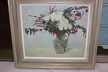 Martin MacKeown an accomplished still life of fuscias in a vase.