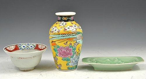 Modern chinese polychrome yellow ground vase,