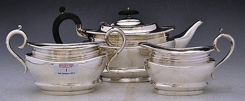 Silver plated three-piece tea service, with