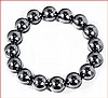 Shell Pearl Stretch Bracelet - Dark Silver Gray (12 mm)