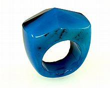 Natural Blue Agate w/ Black  Charm Ring, Size 10.5