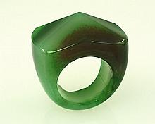 Natural Apple Green Agate Charm Ring, Size 10
