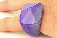 Natural Purple Agate Charm Ring, Size 9
