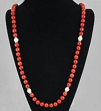 Fashion Jewelry  Coral & Mother Pearl Bead Necklace 92.20 grams