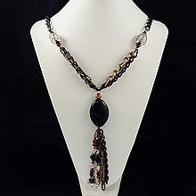 Mixed Agate & glass bead ,Necklace ,71.10g