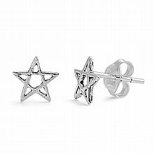 Silver Earrings - Star,7mm,,Sterling Silver