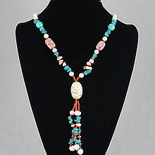 Fashion Jewelry Agate Multi Glass Bead Necklace 93.20 grams