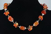 Agate & Carnelian Necklace  71.70 grams